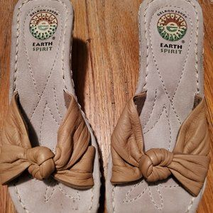 Earth Spirit Tan Wedge Sandals